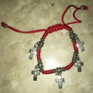 Jewelry - Red Cross heart adjustable bracelet anklet